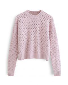 Crisscross Fuzzy Round Neck Sweater in Pink