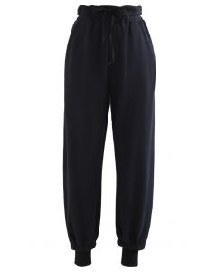 Cuffed Hem Drawstring Pockets Joggers in Black