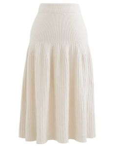 Radiant Lines Knit Midi Skirt in Cream