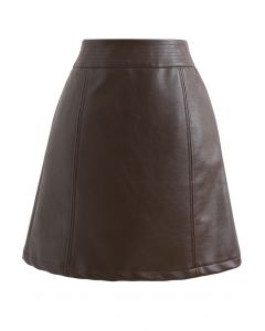Seamed Waist Faux Leather Bud Mini Skirt in Brown