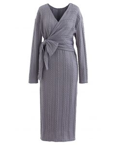 Braid Embossed Wrap Bowknot Slit Knit Dress in Grey