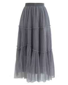 Soft Mesh Ruffle Detail Pleated Skirt in Grey
