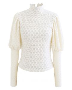 Full Lace Puff Sleeves Top in Cream