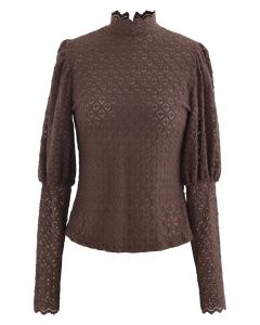 Full Lace Puff Sleeves Top in Brown
