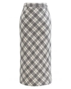 Wool-Blend Check Slit Pencil Skirt in Ivory
