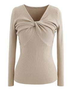 Knotted Front Fitted Knit Top in Camel