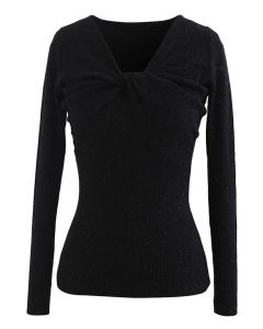 Knotted Front Fitted Knit Top in Black