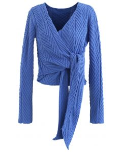 Plunging Wrap Tie Crop Knit Sweater in Blue