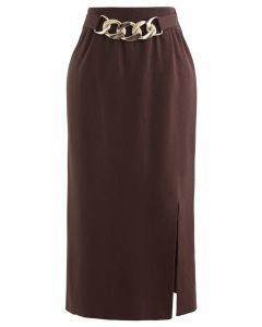 Golden Chain Waist Slit Pencil Knit Skirt in Brown