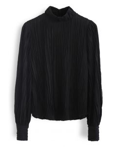 Lightsome Ripple Mock Neck Smock Top in Black