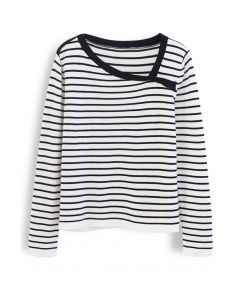 Oblique Collar Striped Knit Top in White