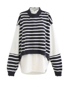Fake Two-Piece Striped Hi-Lo Pullover in Black