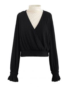 Lace Spliced Embossed Wrap Top in Black