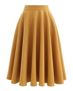 High Waisted Wool-Blend Flare Skirt in Mustard