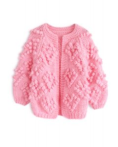 Knit Your Love Cardigan en rose vif pour enfants