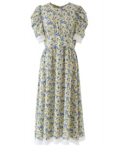 Puff Sleeves Ditsy Floral Lace Spliced Dress
