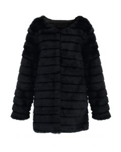 Manteau avec Fausse Fourrure en Noire