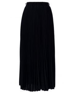Jupe longue plissée noire en chiffon