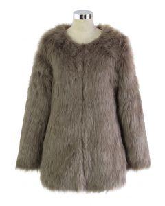 Manteau en fausse fourrure Chicwish Glam brun