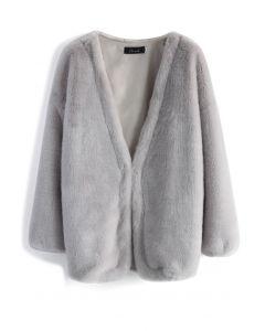 Manteau Ultra Confortable en Fausse Fourrure Gris
