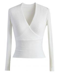 Glamour Haut avec Col-V en Côtelé Blanc