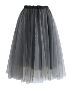 Amour Jupe en Tulle Maille Fuligineuse