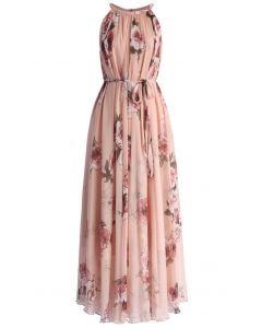 Roses Panachées Robe Longue