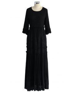 Grace de Vignette Robe Longue Brodée en Noir