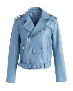 Chic Indéniable Veste de Motard en Faux Cuir Bleu