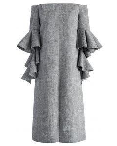 Robe en tissu sergé classique avec manches évasées en gris