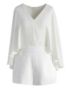 Montrez Votre Charme Combishort Blanc avec Manches Cape