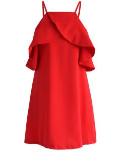 Sylphide Robe Rouge avec Des Epaules Dénudées