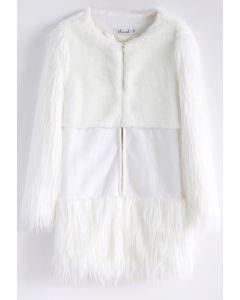 La Mémoire de la Neige Manteau Blanc avec Fourrure Fausse