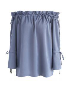 Top à épaules dénudées Dose of Grace en bleu poussière