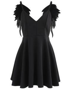 Ailes d'anges Robe à bretelles noir