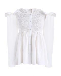 Chérie élégante Top épaules dénudées asymétrique à volants blanc