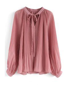 Winsome Look Top en mousseline de soie plissée en rose