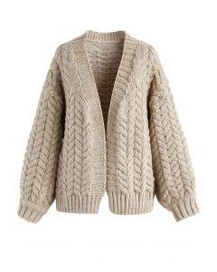 Nice to Knit You Cardigan épais couleur sable