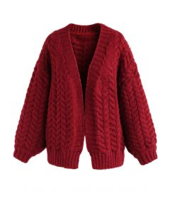Nice to Knit You Cardigan épais rouge