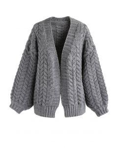 Nice to Knit You Cardigan épais gris