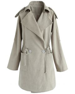Trench-coat en fausse suède Sugary Breeze en sable