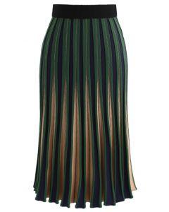 Jupe trapèze tricotée rayée rayée en vert
