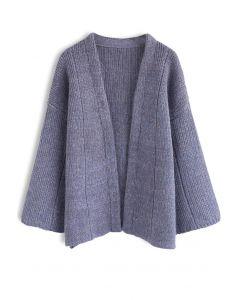 Cardigan confortable en tricot de temps libre à la lavande