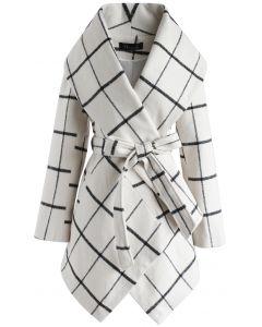 Prairie Rabato Manteau à carreaux blanc