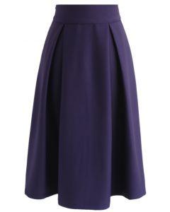 Jupe mi-longue pleine longueur en violet