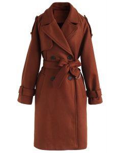 Manteau en mélange de laine à double boutonnage Snug Caramel