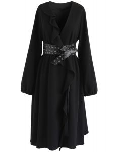 So Trendy - Robe manteau à volants en noir