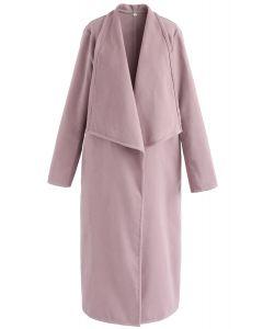 Manteau long en laine mélangée Allure ouverte sur le devant, rose nude