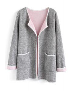 Manteau en tricot à devant ouvert et contraste contrastant gris