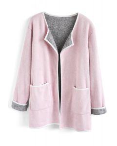 Manteau tricoté devant contrastant et confortable en rose